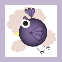 Flying in clouds cartoon bird. Vector illustration
