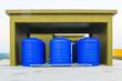 Leinwanddruck Bild - blue plastic water tank