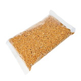 packing seed mixture isolated on white, food for Budgies