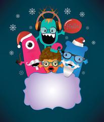 Monster Merry Christmas Card Design.