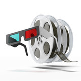 Stereo glasses and  film reel