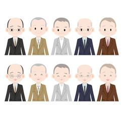 スーツを着た白髪の男性 5人 真顔と笑顔