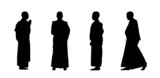 buddhist monks silhouettes set 1