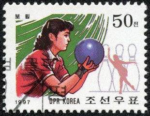 stamp printed in North Korea showing Tenpin Bowling