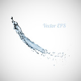 Blue water splash isolated on white background