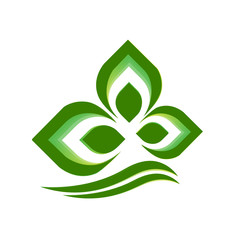 Green plant logo vector background