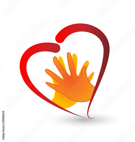 Hands and heart symbol logo vector
