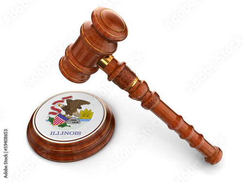 Wooden Mallet and flag Of Illinois (clipping path included)