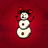Holiday Christmas background with simple sketch icon snowman iso