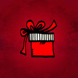Holiday Christmas background with simple sketch icon gift box is