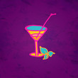 Martini glass icon with a straw and mint hand drawing illustrati