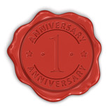 Wax Stamp anniversary 1th (clipping path included)