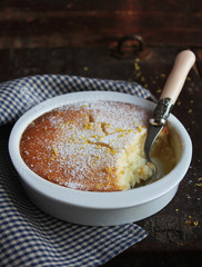 Citrus lemon pudding with icing sugar