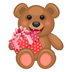 Bear and gift box