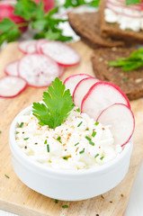 soft cottage cheese with radish and chives