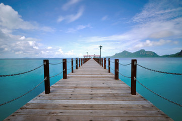 Long Jetty with turquoise water in Sabah Borneo Malaysia