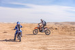 racing motorcycles on the desert