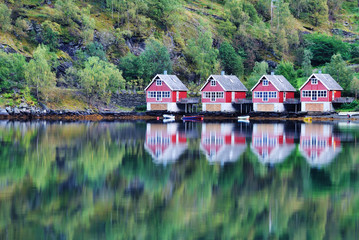 Scenic View of lake and fishing huts in Flam, Norway