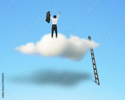 Cheered businessman on top of cloud with wooden ladder