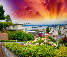 Sunset sky over San Francisco skyline. View from Lombard Street