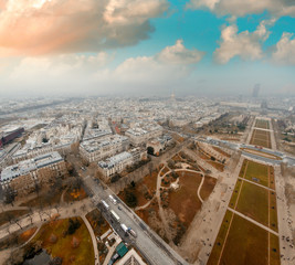 Paris. Aerial view of buildings and gardens from the top of Tour