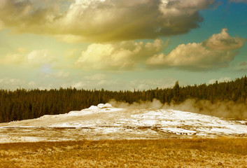 The Old Faithful, Yellowstone. Geyser preparing for eruption