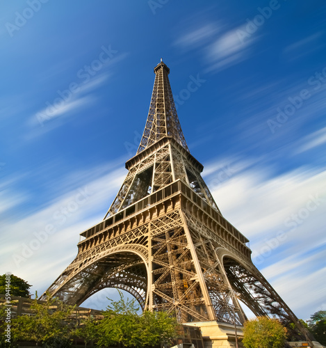 Eiffel Tower in Paris long exposure