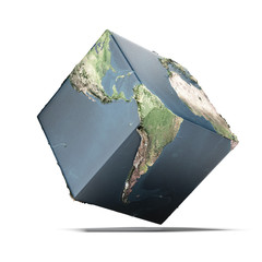 Earth cube (image including elements furnished by NASA)