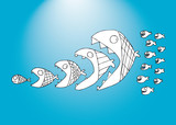 Fish cartoon funny background