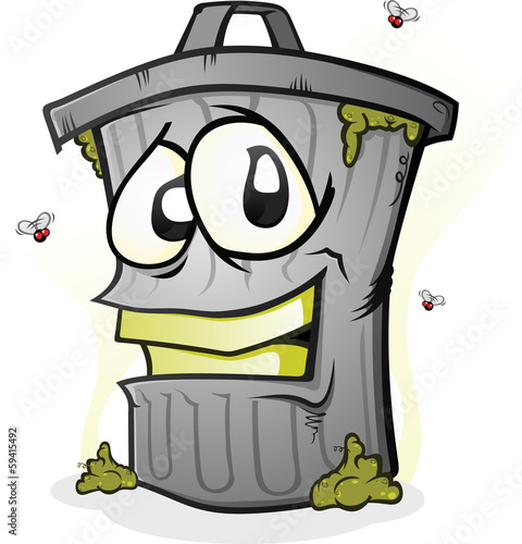 Smiling Dirty Trash Can Cartoon Character
