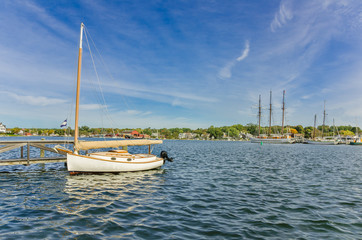 Sailing Boat Moored to a Wooden Jetty