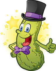 Gentleman Pickle In A Top Hat and Bow Tie Cartoon Character