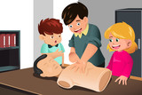 Kids practicing CPR poster