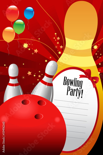 Bowling party invitation template