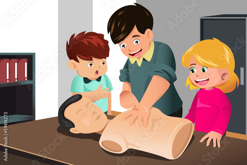 Kids practicing CPR