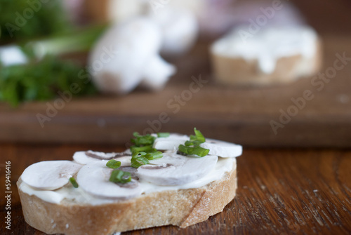 sandwiches with mushrooms and mayonnaise