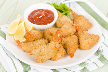 Breaded Butterfly Prawns - Fried prawns filled with garlic sauce