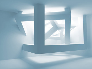 Blue room interior with abstract construction of cubes