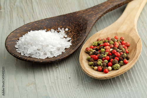 sea salt and mix of peppercorns