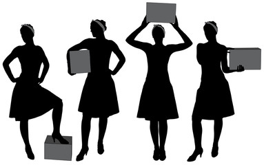 Woman carrying box silhouette