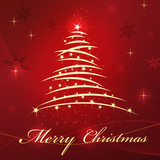 Fototapety Christmas tree and star on red beautiful background