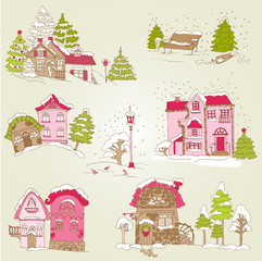 Set of Christmas Houses  - for design and scrapbook