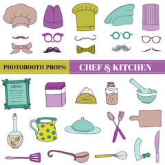 Chef and Kitchen - Photobooth Set - Glasses, hats, lips, mustach