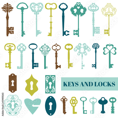 Set of Antique Keys and Locks - for your design or scrapbook