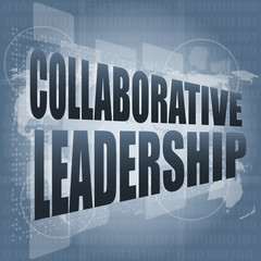 collaborative leadership review on touch screen, media