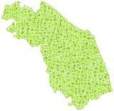Region of Marche - Italy - in a mosaic of green squares