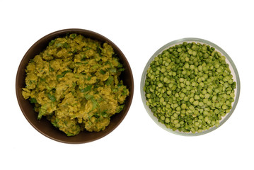raw green pea and pea puree