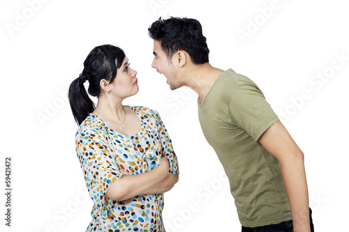 Young Couple Fighting Isolated