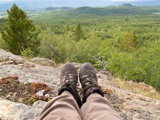 Resting taiga hiker Yukon Territory Canada