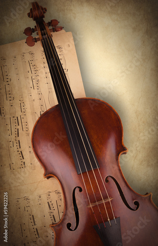 viola on old sheet music